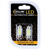 Светодиодные LED автолампы SOLAR Premium Line 12V SV8.5 T11x36 4SMD 5730 white блистер 2шт (SL1352)