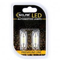 Светодиодные LED автолампы SOLAR Premium Line 12V SV8.5 T11x36 6SMD 2835 white блистер 2шт (SL1350)