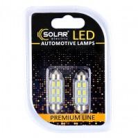 Светодиодные LED автолампы SOLAR Premium Line 12V SV8.5 T11x41 6SMD 5730 CANBUS white блистер 2шт (SL1361)
