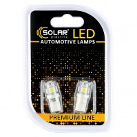 Светодиодные LED автолампы SOLAR Premium Line 12V T10 W2.1x9.5d 5SMD 5050 white блистер 2шт (SL1330)