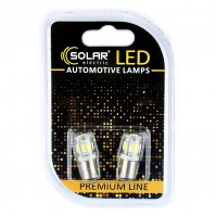 Светодиодные LED автолампы SOLAR Premium Line 12V T8.5 BA9s 9SMD 5730 white блистер 2шт (SL1335)