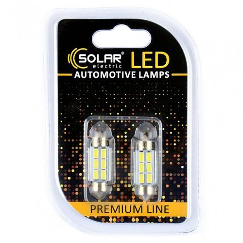 Светодиодные LED автолампы SOLAR Premium Line 12V SV8.5 T11x36 6SMD 5730 CANBUS white блистер 2шт (SL1360)