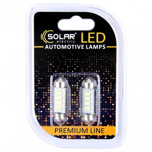Светодиодные LED автолампы SOLAR Premium Line 12V SV8.5 T11x39 4SMD 5730 white блистер 2шт (SL1353)