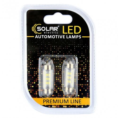Светодиодные LED автолампы SOLAR Premium Line 12V SV8.5 T11x39 6SMD 2835 white блистер 2шт (SL1351)