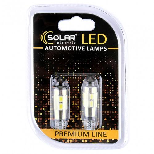 Светодиодные LED автолампы SOLAR Premium Line 12V T10 W2.1x9.5d 10SMD 5730 + lens CANBUS white блистер 2шт (SL1348)