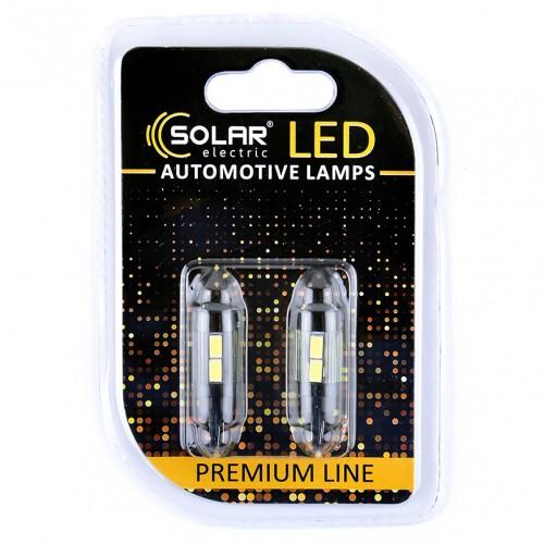 Светодиодные LED автолампы SOLAR Premium Line 12V T10 W2.1x9.5d 10SMD 5730 + lens white блистер 2шт (SL1345)