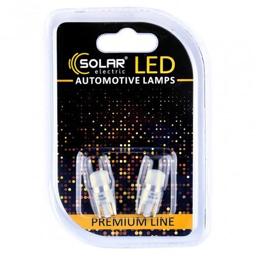 Светодиодные LED автолампы SOLAR Premium Line 12V T10 W2.1x9.5d 1SMD 3030 CANBUS white блистер 2шт (SL1340)