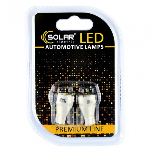 Светодиодные LED автолампы SOLAR Premium Line 12V T10 W2.1x9.5d 5SMD 2835 white блистер 2шт (SL1339)