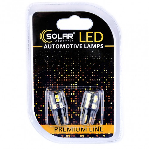 Светодиодные LED автолампы SOLAR Premium Line 12V T10 W2.1x9.5d 6SMD 3030 SSC 6W 250lm CANBUS white блистер 2шт (SL1341)