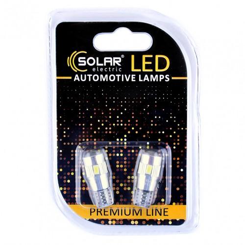 Светодиодные LED автолампы SOLAR Premium Line 12V T10 W2.1x9.5d 6SMD 5730 + lens CANBUS white блистер 2шт (SL1347)
