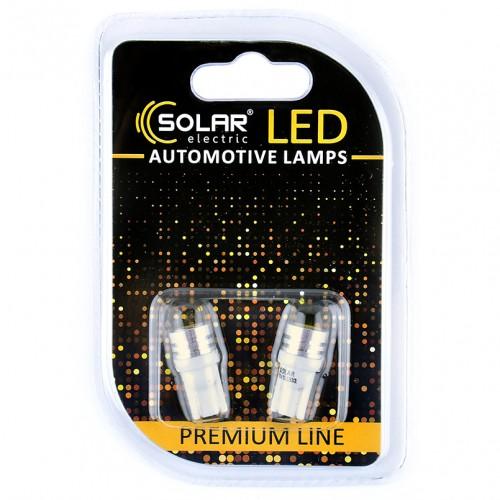 Светодиодные LED автолампы SOLAR Premium Line 12V T10 W2.1x9.5d 1SMD 1W white блистер 2шт (SL1332)
