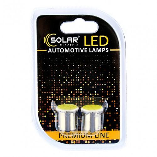 Светодиодные LED автолампы SOLAR Premium Line 12V G18.5 BA15s 1COB white блистер 2шт (SL1382)