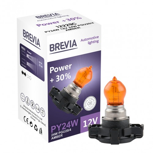 Галогеновая лампа Brevia PY24W 12V 24V PGU20/4 AMBER Power +30% CP (12229c)
