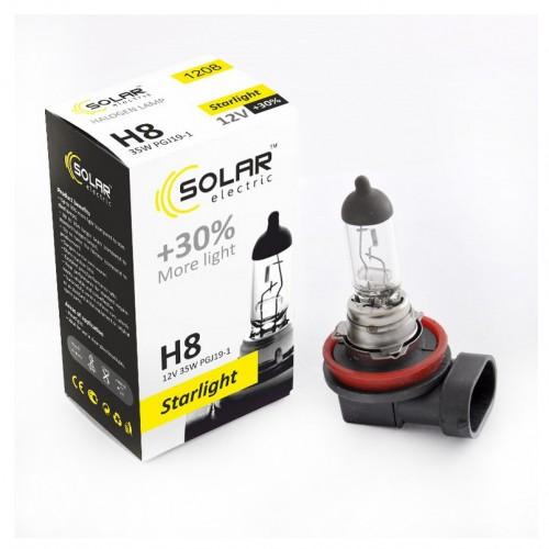 Галогеновая лампа SOLAR H8 12V Starlight +30% (1208)