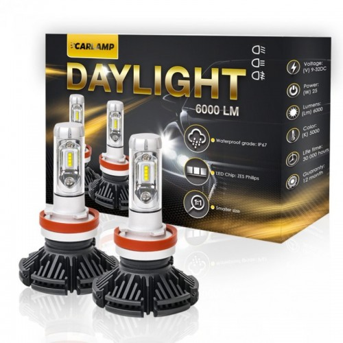 Светодиодные автолампы H3 CARLAMP Day Light Led для авто 6000 Lm 6000 K (DLH3)