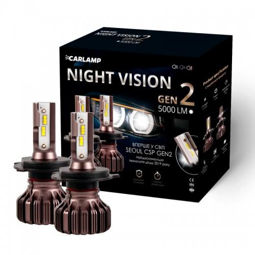 Светодиодные автолампы H4 Carlamp LED Night Vision Gen2 Led для авто 5500 K 5000 Лм (NVGH4)